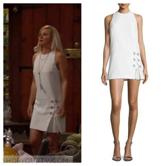sharon newman's white lace up sleeveless dress the young and the restless