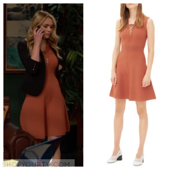summer newman's rust lace up dress the young and the restless