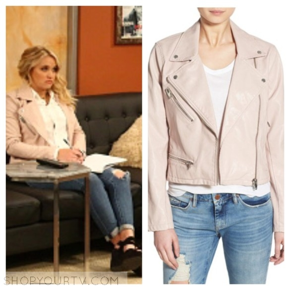 gabi's pink leather jacket young and hungry