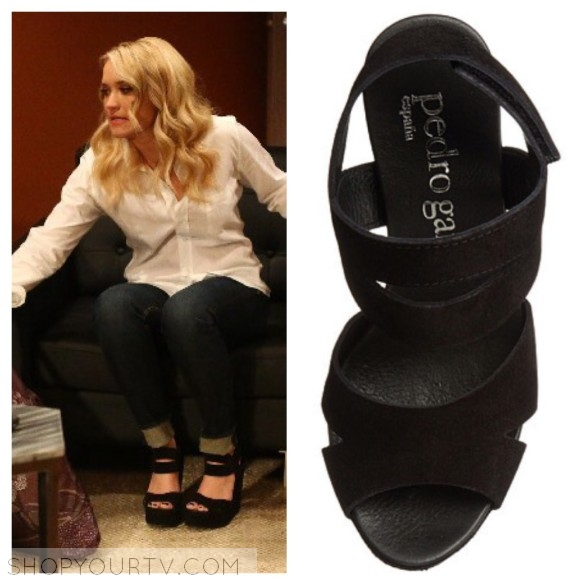 gab's black suede platforms young and hungry