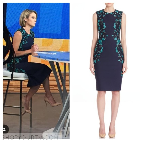 amy robach blue and green lace dress gma