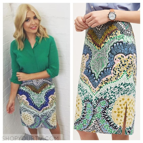 holly willoughby fashion style wardrobe, outfit clothes skirt dress
