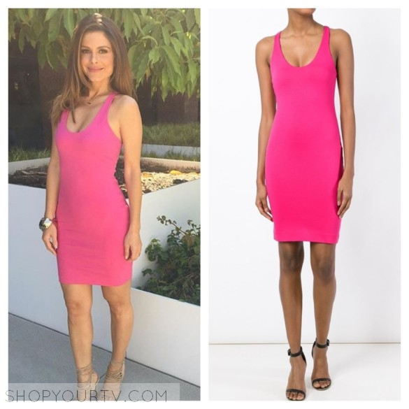 e! news maria menounos hot pink dress