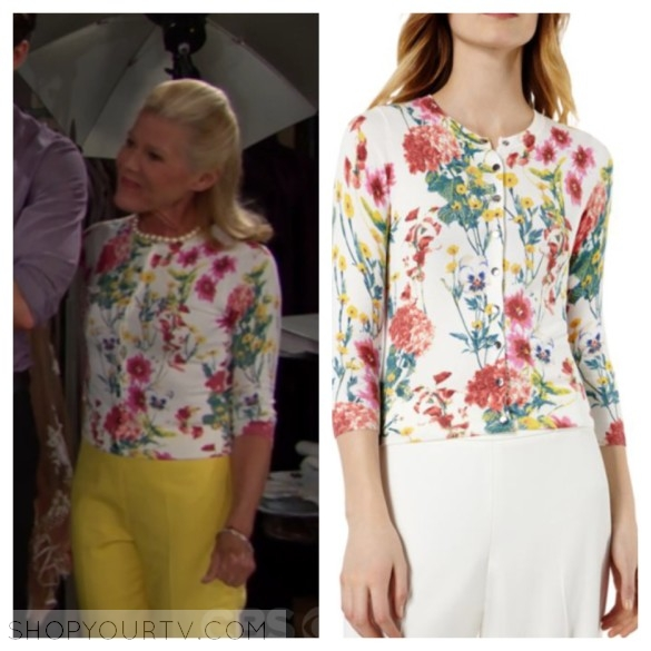 """pam's floral printed cardigan sweater """"the bold and the beautiful"""""""