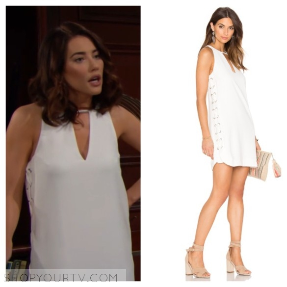 steffy forrester white lace up grommet dress the bold and the beautiful