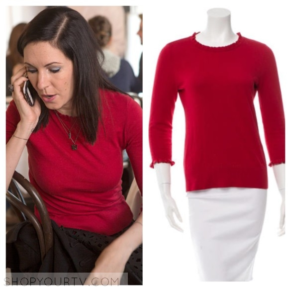 jill weber red ruffle sweater odd mom out fashion style wardrobe clothes outfit