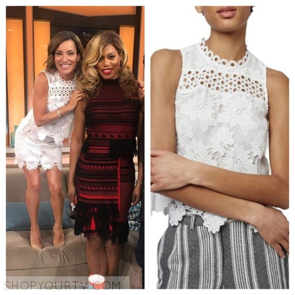 kit hoover white lace floral dress top outfit access hollywood
