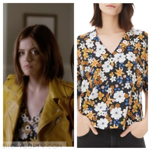 aria's v-neck floral top PLL pretty little liars