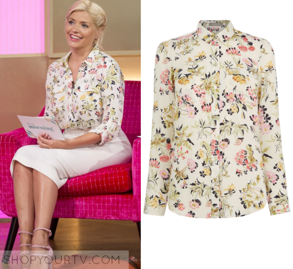 This Morning June 2016 Hollys White Floral Print Blouse Shop Your Tv