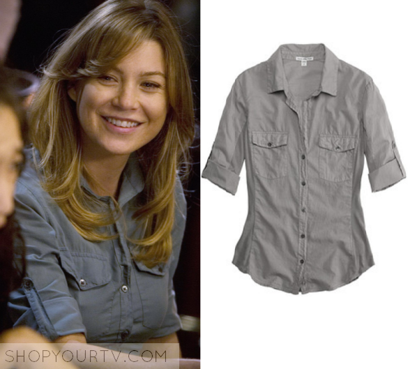 Greys anatomy season 5 episode 4 meredith s grey button for Grey button down shirt