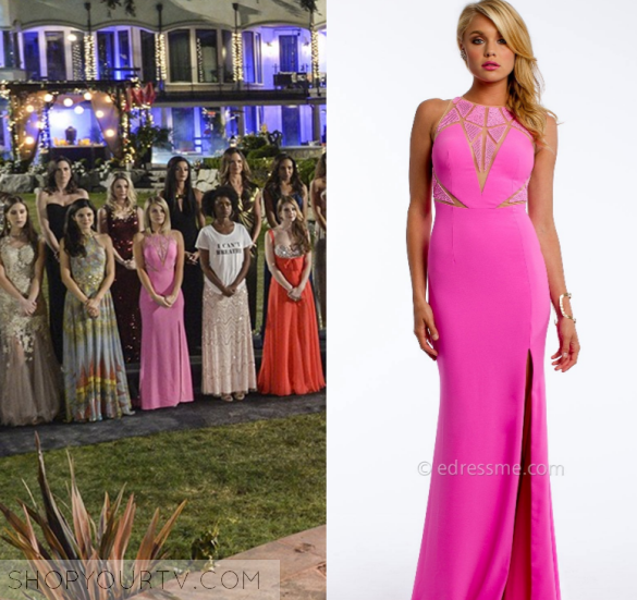 4329495064 Tiffany (Kim Matula) wears this pink cut out chest dress gown in this  week s episode of UnREAL. It is the Camille La Vie Crepe Plunge Caviar Bead  Prom ...