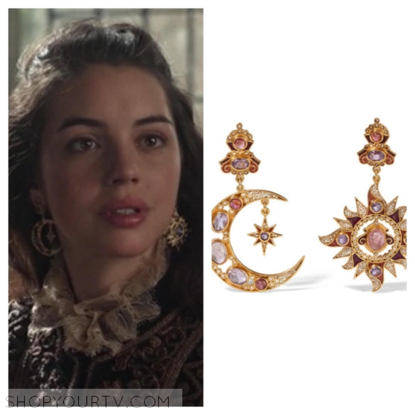 queen mary's sun and moon earrings reign season 3 fashion style wardrobe outfit clothes