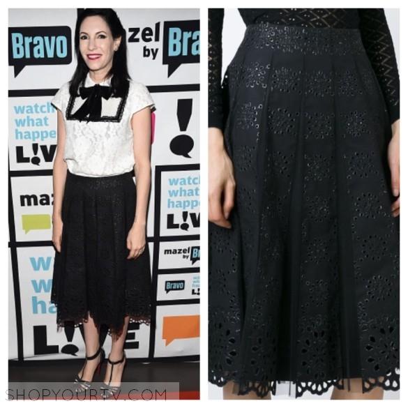 jill kargman black pleated skirt wwhl