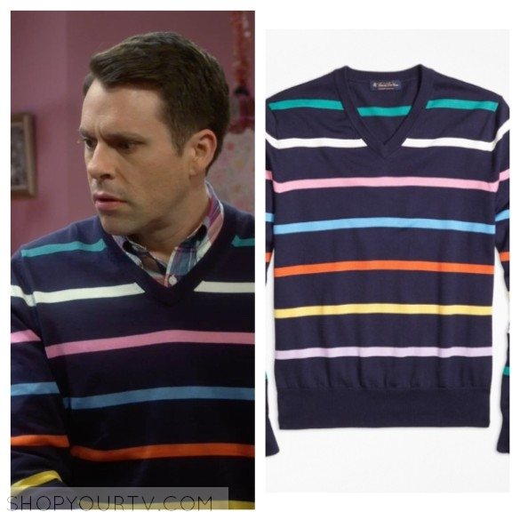 alan's blue multicolor striped sweater young and hungry