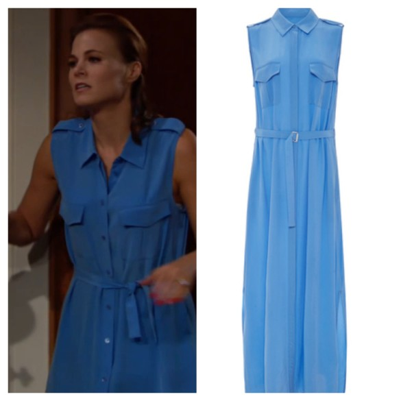 phyllis newman blue maxi dress the young and the restless