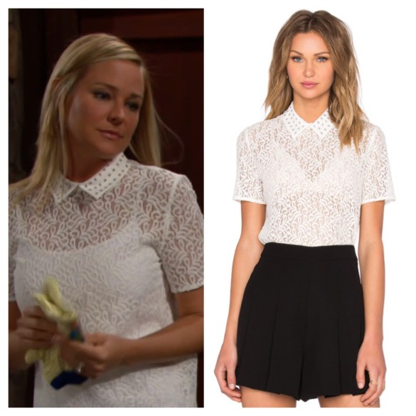 sharon newman white lace top the young and the restless