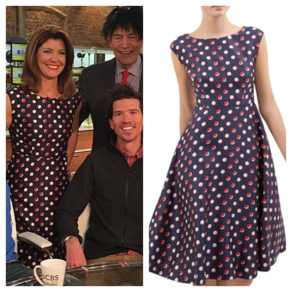 norah o'donnell blue and red polka dot dress