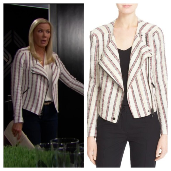 brooke's striped moto jacket the bold and the beautiful