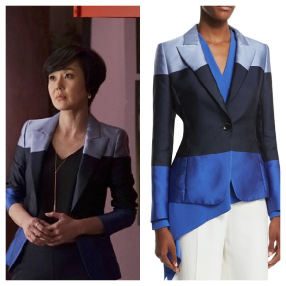 karen's blue colorblock jacket mistresses fashion wardrobe