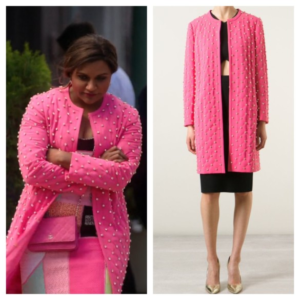 mindy's pink quilted crystal stud coat the mindy project