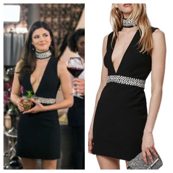 "yael ""hot rachel"" black and silver v-neck dress"