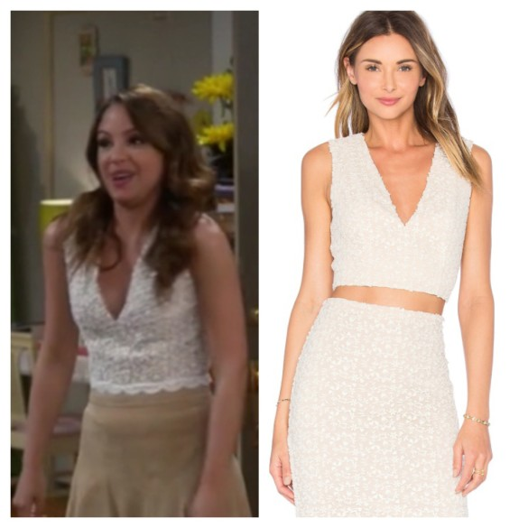 sofia's white lace crop top young and hungry