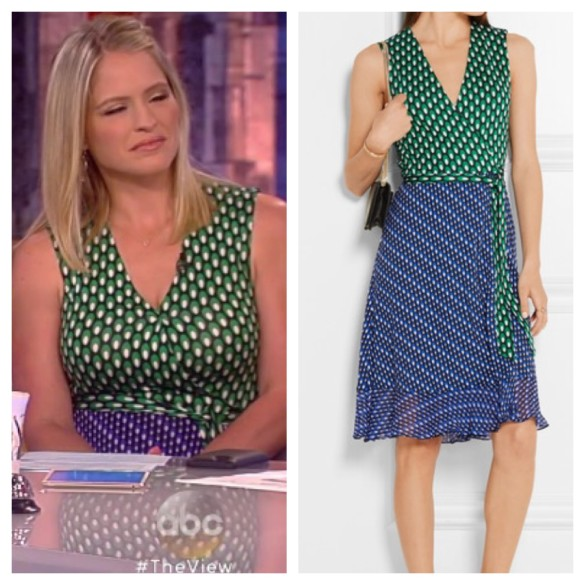 a3823ca2ce52 The View: June 2016 Sara's Green and Blue Printed Sleeveless Wrap Dress