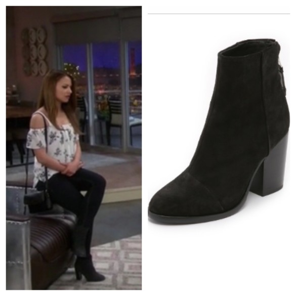 sofia's black suede booties, young and hungry