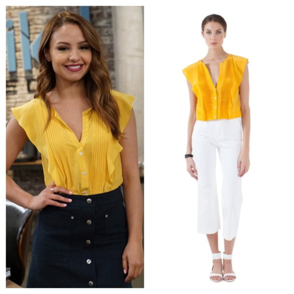 sofia's yellow ruffle top, young and hungry