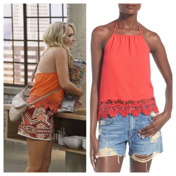 gabi diamond's lace halter top, young and hungry