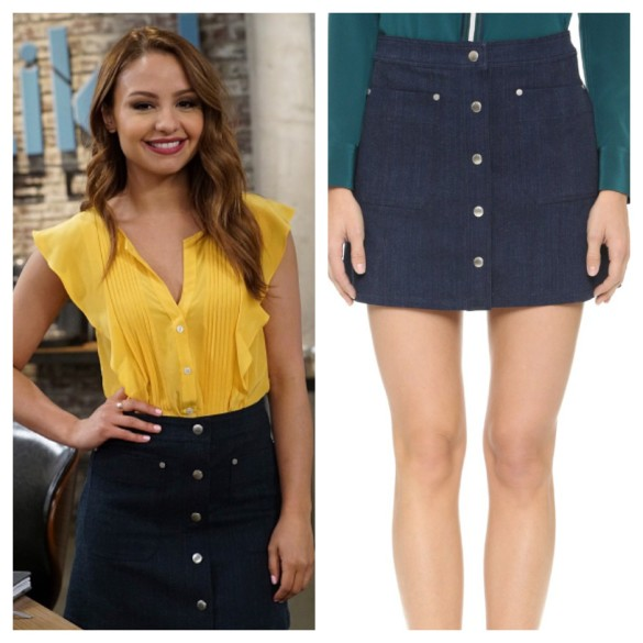 sofia's denim mini skirt, young and hungry
