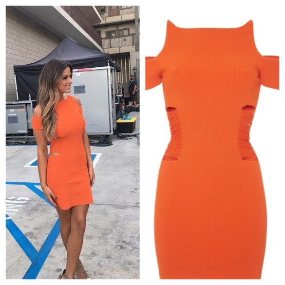 Jojo Fletcher Men Tell All Orange Cutout Cold Shoulder Dress