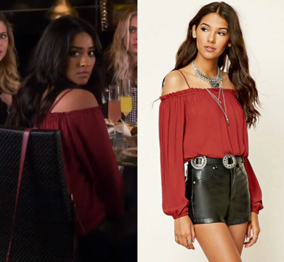 811cd390f70f4 Pretty Little Liars  Season 7 Episode 7 Emily s Red off the shoulder top