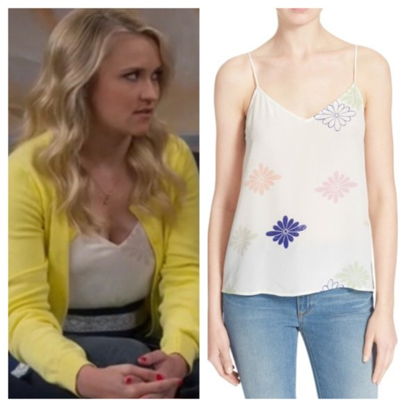 gabi's white floral silk top, young and hungry