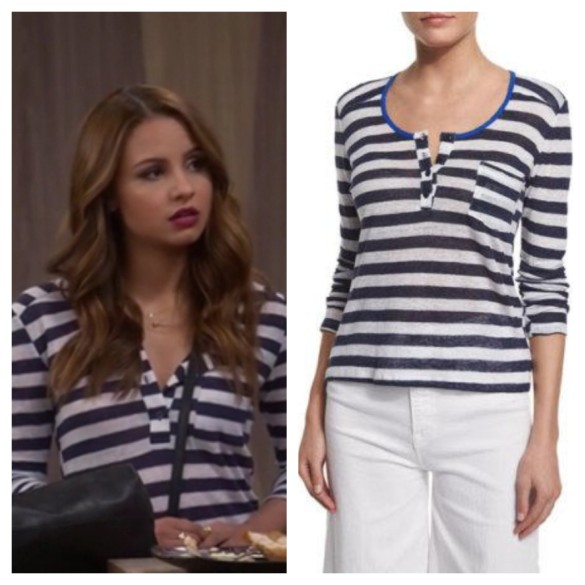 sofia's navy blue striped top, young and hungry