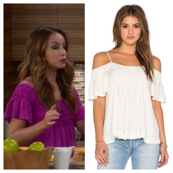 sofia's purple cold shoulder top, young and hungry