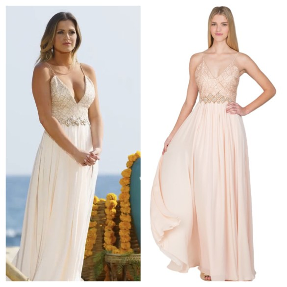 The Bachelorette Season 12 Episode 11 Jojos Blush Pink Embroidered Bodice Full Slit Skirt Gown