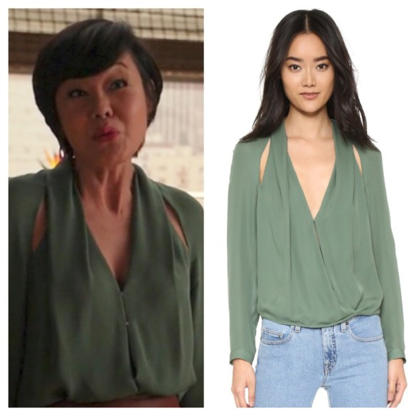 karen's green blouse with slit shoulders, mistresses