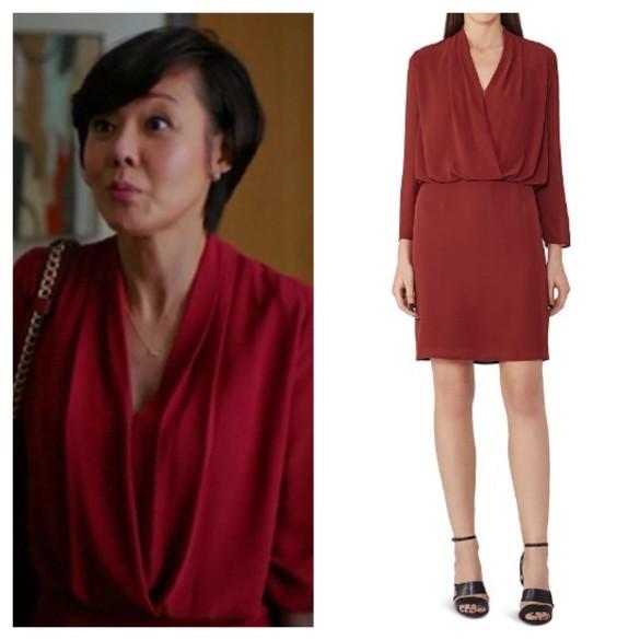karen's red drapped top dress