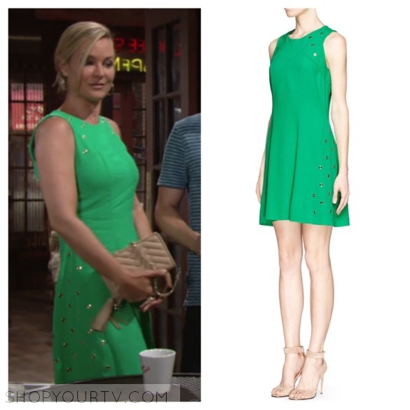 sharon's green dress, sandro reptile dress