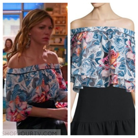 ELIZABETH AND JAMES VANESSA OFF-THE-SHOULDER FLORAL-PRINT TOP
