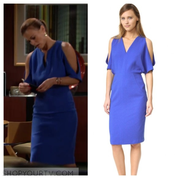 phyllis newman, the young and the restless, blue dress, wardrobe, fashion, style, clothes, outfit