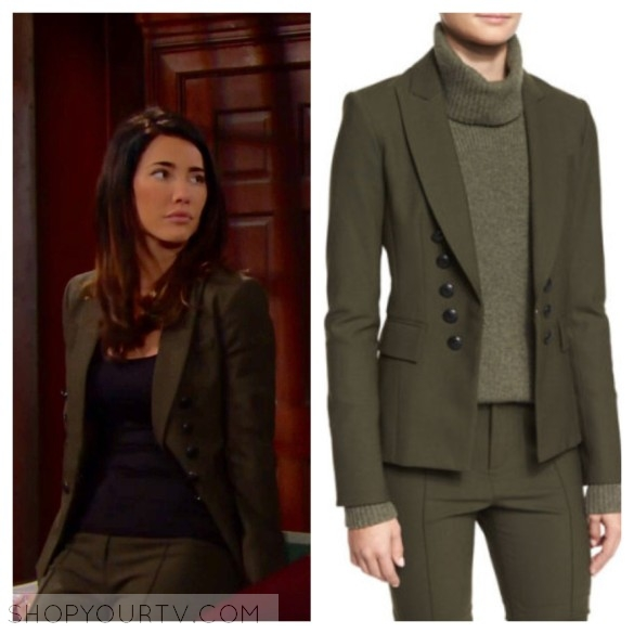 VERONICA BEARD SARIN DOUBLE-BREASTED STRETCH BLAZER, LODEN