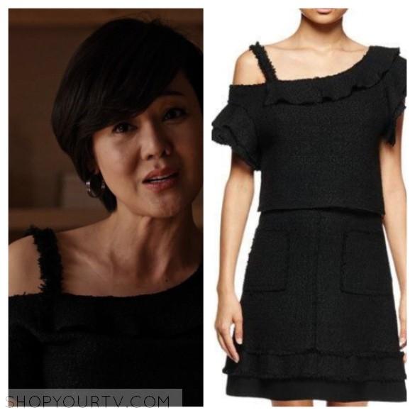 karen kim's black off-the-shoulder tweed ruffle top