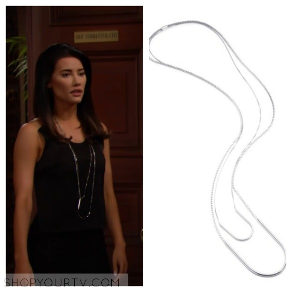 steffy forrester's silver layered necklace