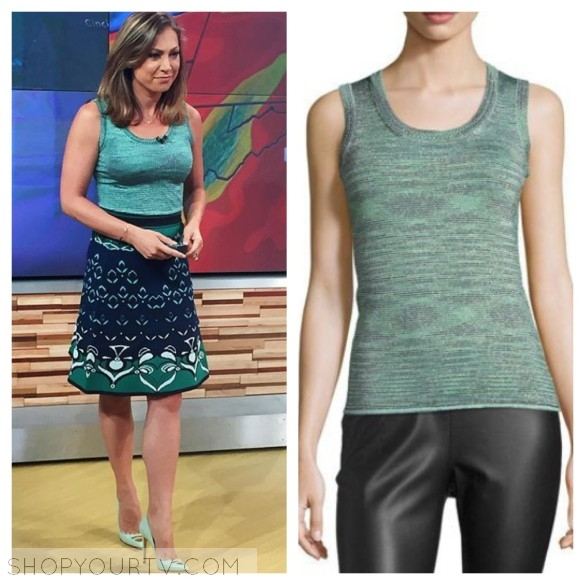 ginger zee's olive green space dye tank top