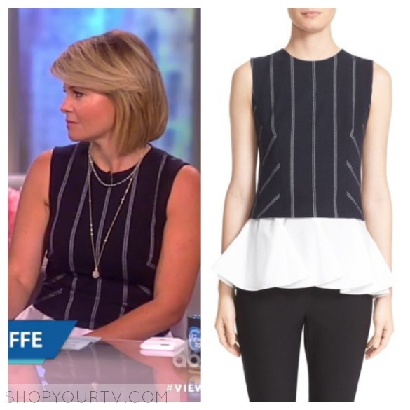 candace cameron bore's blue and white stripe top, the view