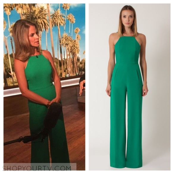 natalie morales green jumpsuit, the talk