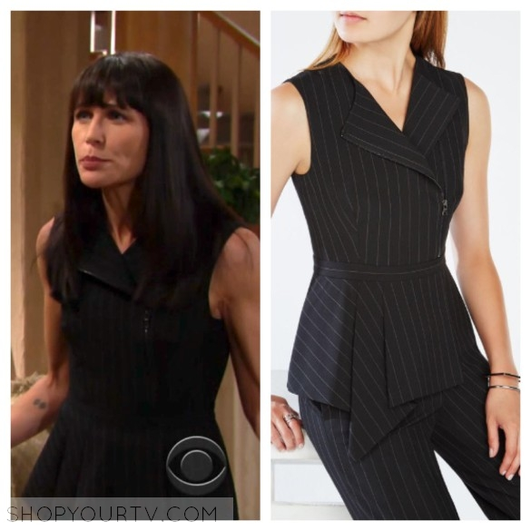 quinn's black striped peplum top