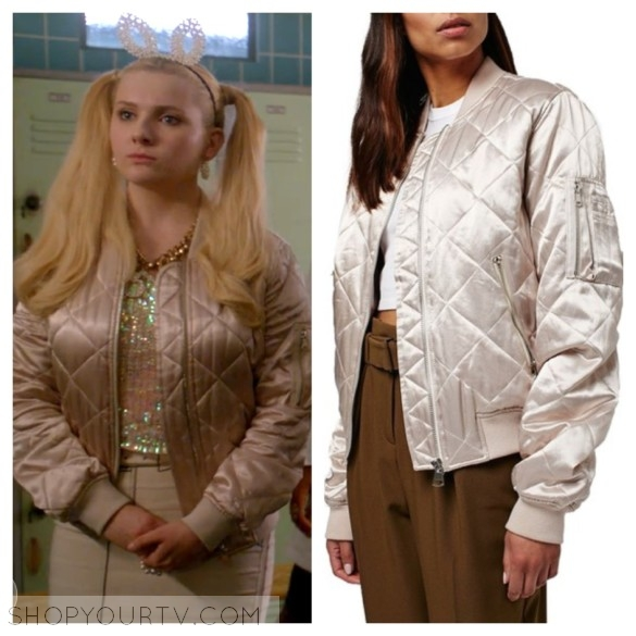 a55e2c97d9f Scream Queens: Season 2 Episode 1 Chanel #5's Pink Shiny Quilted Bomber  Jacket